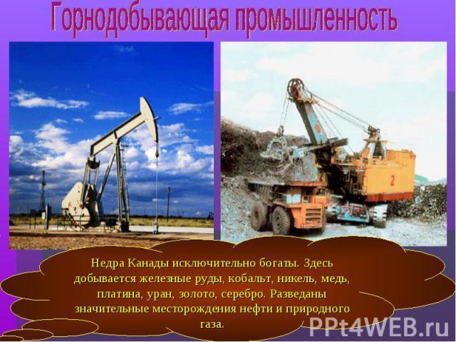 Недра Канады исключительно богаты. Здесь добывается железные руды, кобальт, никель, медь, платина, уран, золото, серебро. Разведаны значительные месторождения нефти и природного газа.
