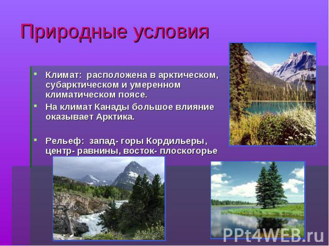 Природные условия Климат: расположена в арктическом, субарктическом и умеренном климатическом поясе.На климат Канады большое влияние оказывает Арктика. Рельеф: запад- горы Кордильеры, центр- равнины, восток- плоскогорье