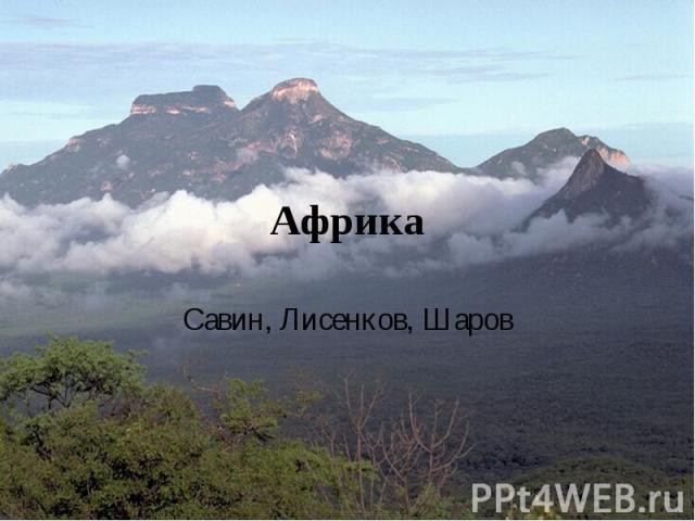Африка Савин, Лисенков, Шаров