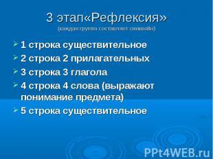 3 этап«Рефлексия » (каждая группа составляет синквейн) 1 строка существительное