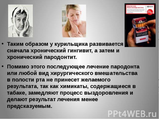 Таким образом у курильщика развивается сначала хронический гингивит, а затем и хронический пародонтит. Таким образом у курильщика развивается сначала хронический гингивит, а затем и хронический пародонтит. Помимо этого последующее лечение пародонта …