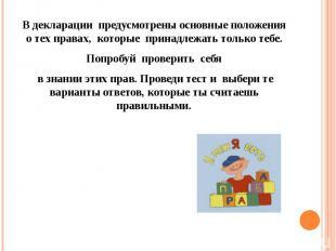 В декларации предусмотрены основные положения о тех правах, которые принадлежать