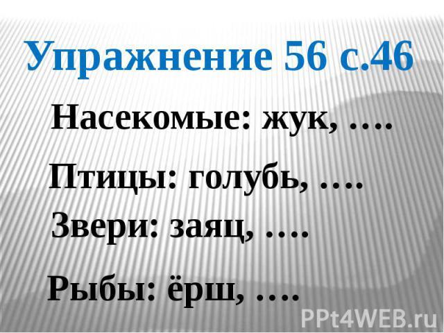 Упражнение 56 с.46 Насекомые: жук, …. Птицы: голубь, …. Звери: заяц, …. Рыбы: ёрш, ….