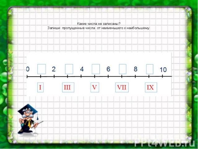 Какие числа не записаны? Запиши пропущенные числа от наименьшего к наибольшему.