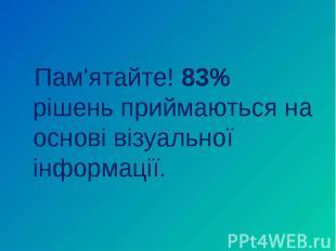 Пам'ятайте! 83% рішень приймаються на основі візуальної інформації. Пам'ятайте!