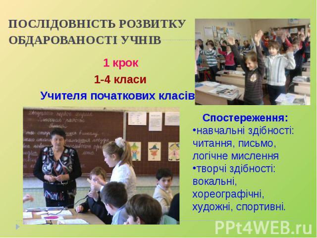 ПОСЛІДОВНІСТЬ РОЗВИТКУ ОБДАРОВАНОСТІ УЧНІВ 1 крок1-4 класиУчителя початкових класів