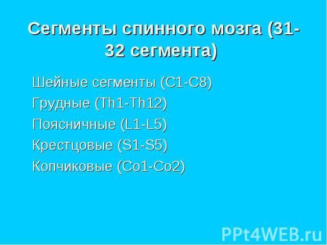 Шейные сегменты (C1-C8) Шейные сегменты (C1-C8) Грудные (Th1-Th12) Поясничные (L1-L5) Крестцовые (S1-S5) Копчиковые (Co1-Co2)