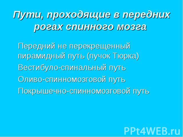 Передний не перекрещенный пирамидный путь (пучок Тюрка) Передний не перекрещенный пирамидный путь (пучок Тюрка) Вестибуло-спинальный путь Оливо-спинномозговой путь Покрышечно-спинномозговой путь