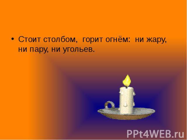 Стоит столбом, горит огнём: ни жару, ни пару, ни угольев. Стоит столбом, горит огнём: ни жару, ни пару, ни угольев.