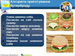 Алгоритм приготування бутерброду