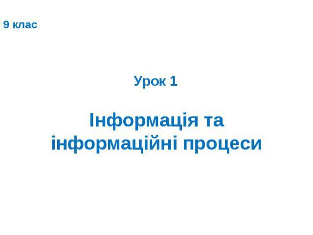 Інформація та інформаційні процеси Урок 1