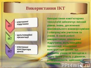 Використання комп'ютерних технологій забезпечує якісний рівень знань, досягнення