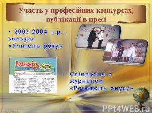 Участь у професійних конкурсах, публікації в пресі