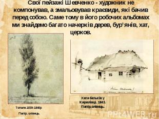 Свої пейзажі Шевченко - художник не компонував, а змальовував краєвиди, які бачи