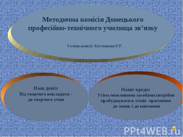 Методична комісія Донецького професійно-технічного училища зв'язку Голова комісії: Костенкова Р.Р.