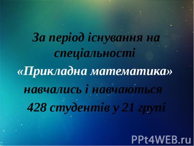 За період існування на спеціальності За період існування на спеціальності «Прикладна математика» навчались і навчаються 428 студентів у 21 групі