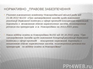 НОРМАТИВНО _ПРАВОВЕ ЗАБЕЗПЕЧЕННЯРішення виконавчого комітету Новогродівської міс