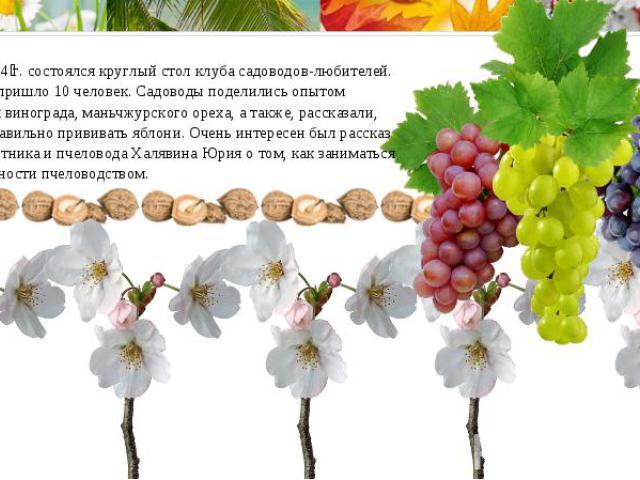 11 апреля2014г. состоялся круглый стол клубасадоводов-любителей. На собрание пришло 10 человек. Садоводы поделились опытом выращивания винограда, маньчжурского ореха, а также, рассказали, как нужно правильно прививать яблони. Очень интересен был …