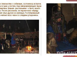 После знакомства с собаками, состоялась встреча с шаманом в чуме у костра, под з