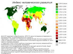 Индекс человеческого развития 0,900 и выше 0,850–0,899 0,800–0,849 0,750–0,799 0