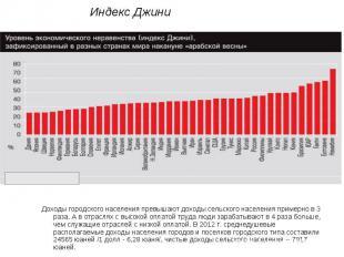 Индекс ДжиниДоходы городского населения превышают доходы сельского населения при