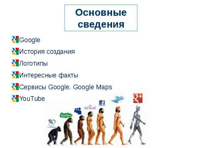 Основные сведения Google История создания ЛоготипыИнтересные факты Сервисы Google. Google Maps YouTube