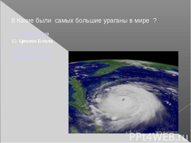 8 Какие были самых большие ураганы в мире ?