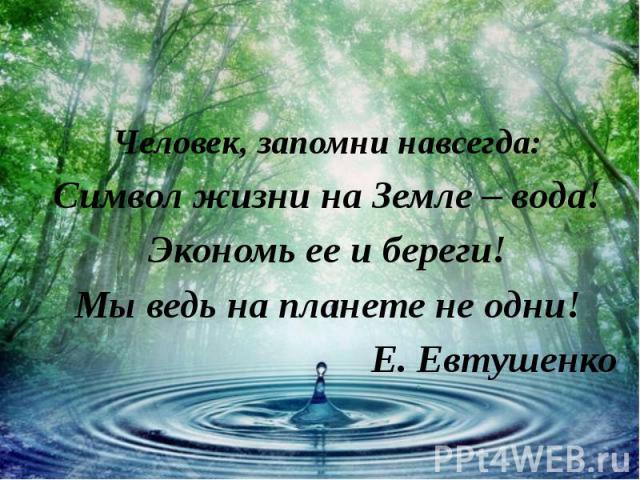 Человек, запомни навсегда: Символ жизни на Земле – вода! Экономь ее и береги! Мы ведь на планете не одни! Е. Евтушенко