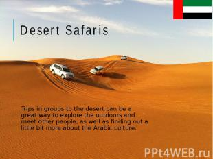 Desert Safaris Trips in groups to the desert can be a great way to explore