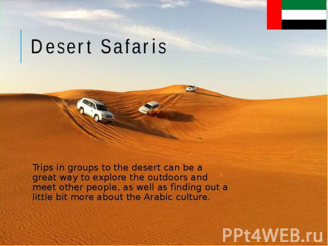 Desert Safaris Trips in groups to the desert can be a great way to explore the outdoors and meet other people, as well as finding out a little bit more about the Arabic culture.