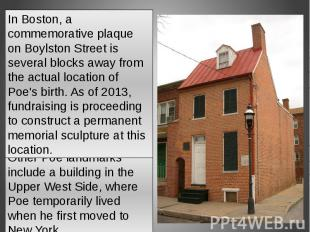 In Boston, a commemorative plaque on Boylston Street is several blocks away from