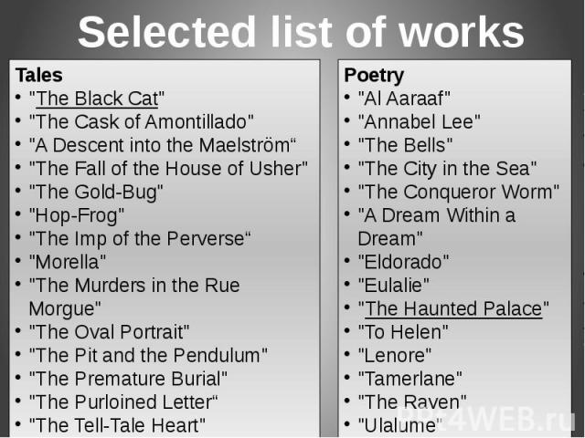 Selected list of works