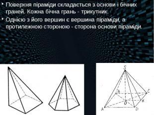 Поверхня піраміди складається з основи і бічних граней. Кожна бічна грань-