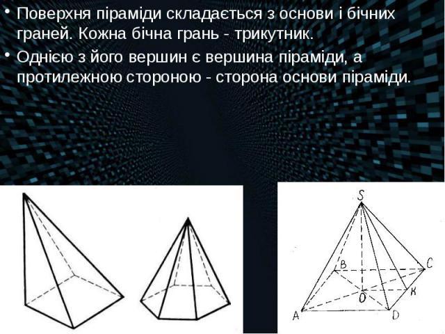 Поверхня піраміди складається з основи і бічних граней. Кожна бічна грань- трикутник. Поверхня піраміди складається з основи і бічних граней. Кожна бічна грань- трикутник. Однією з його вершин є вершина піраміди, а протилежною стороною&n…