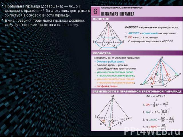 Правильна піраміда (довершена)— якщо її основою є правильний багатокутник, центр якого збігається з основою висоти піраміди. Правильна піраміда (довершена)— якщо її основою є правильний багатокутник, центр якого збігається з основою висо…