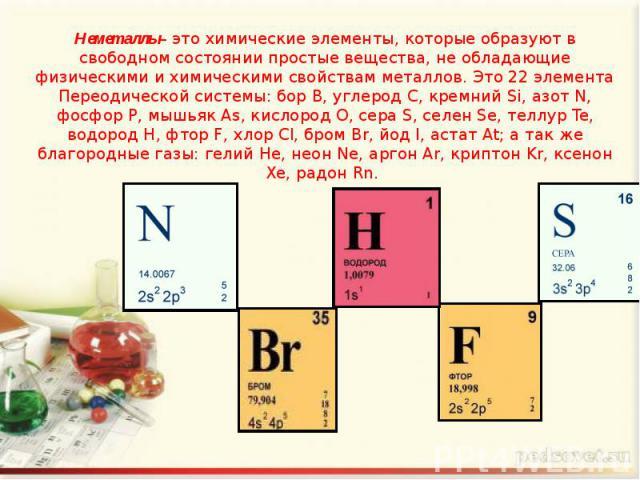 Неметаллы– это химические элементы, которые образуют в свободном состоянии простые вещества, не обладающие физическими и химическими свойствам металлов. Это 22 элемента Переодической системы: бор B, углерод C, кремний Si, азот N, фосфор P, мышьяк As…