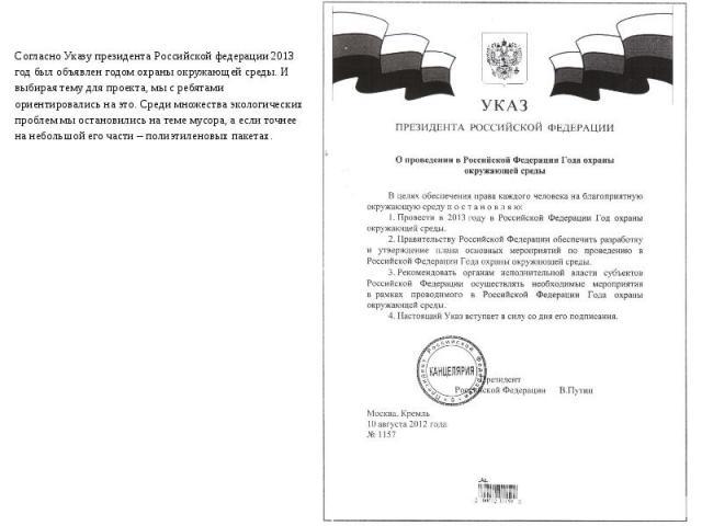 Согласно Указу президента Российской федерации 2013 год был объявлен годом охраны окружающей среды. И выбирая тему для проекта, мы с ребятами ориентировались на это. Среди множества экологических проблем мы остановились на теме мусора, а если точнее…