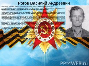 Рогов Василий Андреевич Рогов Василий Андреевич - коренной нязепетровец, заводча