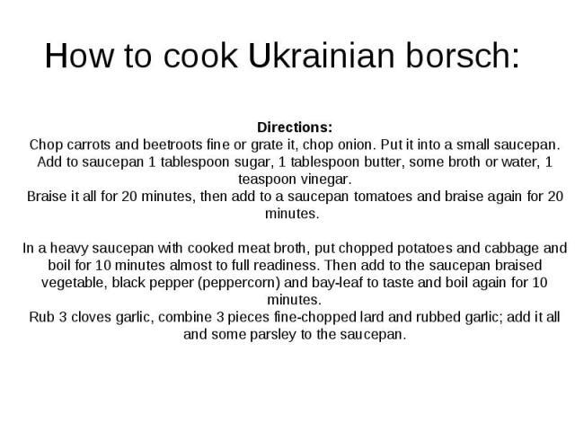 How to cook Ukrainian borsch: