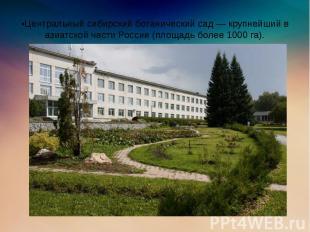 •Центральный сибирский ботанический сад — крупнейший в азиатской части России (п