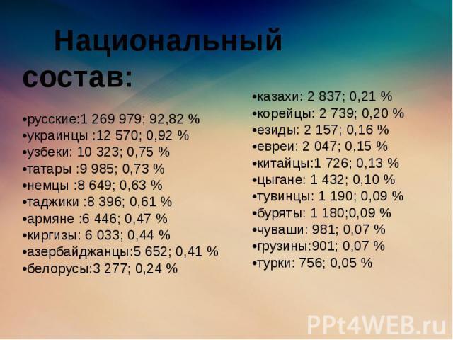 Национальный состав: •русские:1 269 979; 92,82 % •украинцы :12 570; 0,92 % •узбеки: 10 323; 0,75 % •татары :9 985; 0,73 % •немцы :8 649; 0,63 % •таджики :8 396; 0,61 % •армяне :6 446; 0,47 % •киргизы: 6 033; 0,44 % •азербайджанцы:5 652; 0,41 % •бело…
