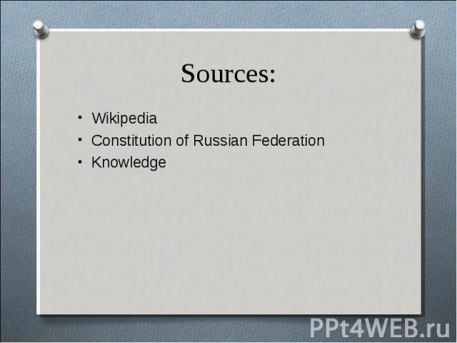 Wikipedia Wikipedia Constitution of Russian Federation Knowledge