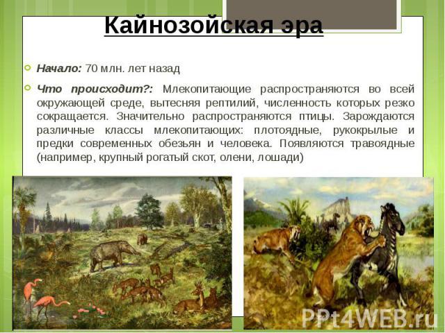 Кайнозойская эра Начало: 70 млн. лет назад Что происходит?: Млекопитающие распространяются во всей окружающей среде, вытесняя рептилий, численность которых резко сокращается. Значительно распространяются птицы. Зарождаются различные классы млекопита…