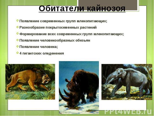 Обитатели кайнозоя Появление современных групп млекопитающих; Разнообразие покрытосеменных растений Формирование всех современных групп млекопитающих; Появление человекообразных обезьян Появление человека; 4 гигантских оледенения