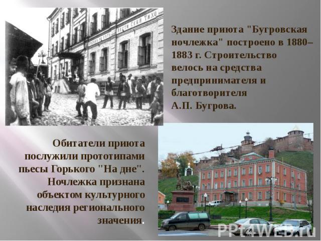 """Здание приюта """"Бугровская ночлежка"""" построено в 1880–1883 г. Строительство велось на средства предпринимателя и благотворителя А.П. Бугрова."""