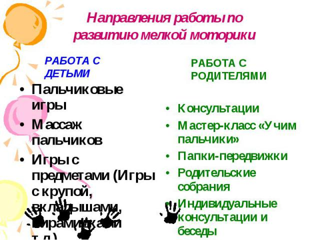 Пальчиковые игры Пальчиковые игры Массаж пальчиков Игры с предметами (Игры с крупой, вкладышами, пирамидками т.д.).