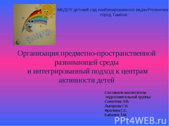 Организация предметно-пространственной развивающей среды и интегрированный подход к центрам активности детей