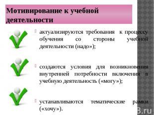 Мотивирование к учебной деятельности актуализируются требования к процессу обуче