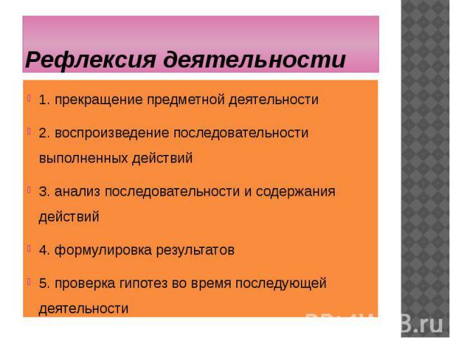Рефлексия деятельности 1. прекращение предметной деятельности 2. воспроизведение последовательности выполненных действий 3. анализ последовательности и содержания действий 4. формулировка результатов 5. проверка гипотез во время последующей деятельности