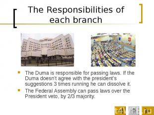 The Responsibilities of each branch The Duma is responsible for passing laws. If